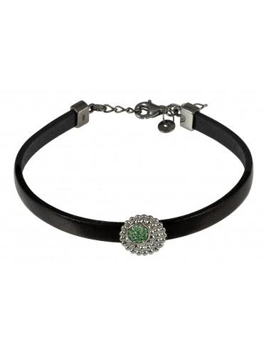 caï Armband zartes Damen-Lederarmband Silber geschwärzt mit Zirkonia grün C1321B/90/E0/17+3