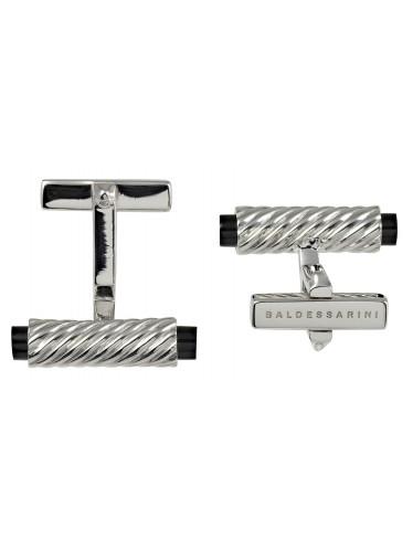Baldessarini Manschettenknöpfe Y1035C/90/13 in rhodiniertem 925 Silber gerillt - schwarzer Onyx integriert