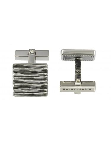 Baldessarini Manschettenknöpfe Y1071C/90/00 Sterling Silber 925 geschwärzt, gerillte Oberfläche