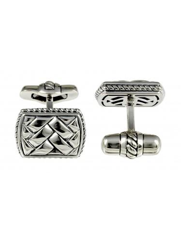 Baldessarini Manschettenknöpfe Y2010C/90/00 rhodiniertes, geschwärztes Silber 925 mit Oberflächenstruktur