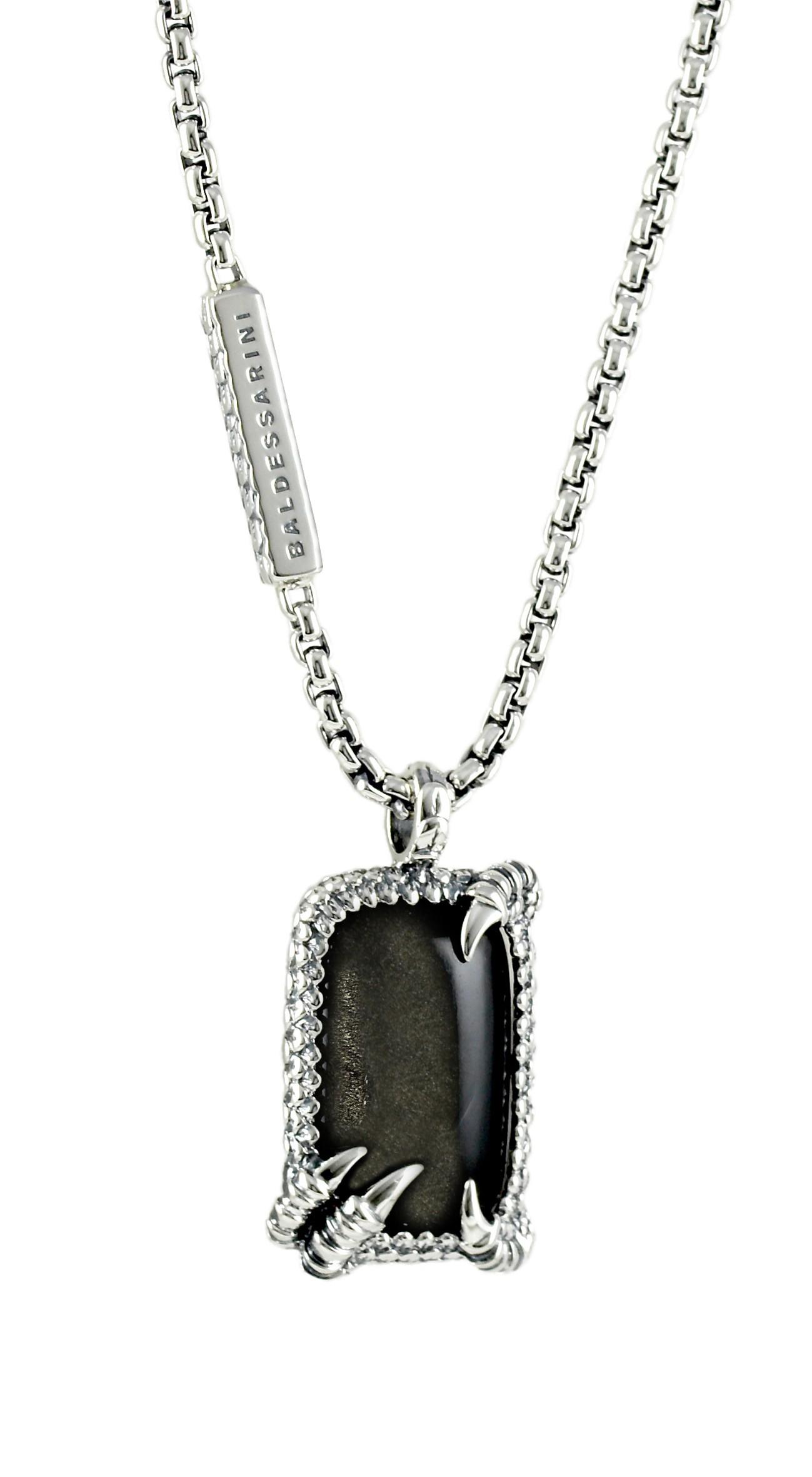 Stufen von letzte auswahl von 2019 noch nicht vulgär Herren-Halskette mit schwarzem Obsidian von Baldessarini ...