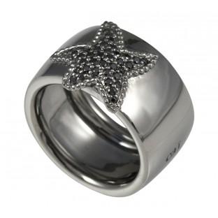 caï geschwärzter Damenring Herz aus schwarzen Zirkonia - C1264R/90/43