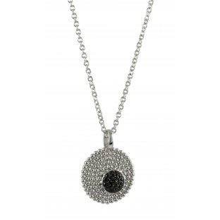 cai Halskette / Collier runde Silberplatte mit schwarzem Zirkoniabesatz C1321N/90/43/45