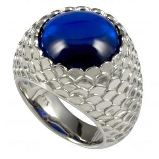 caï strukturierter Damenring mit rundem Zirkonia blau - C1325R/90/31