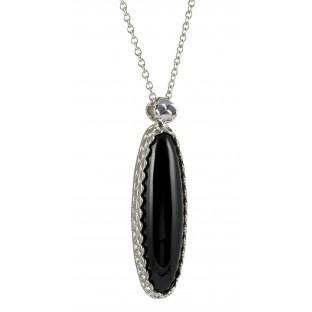 caï Halskette, schwarzer Onyx gefasst - ovales Collier C1387N/90/13/45