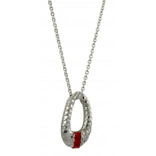 cai Halskette Zirkonia orange - Collier durchbrochenes Oval mit Silberschuppen C1419N/90/J5/45
