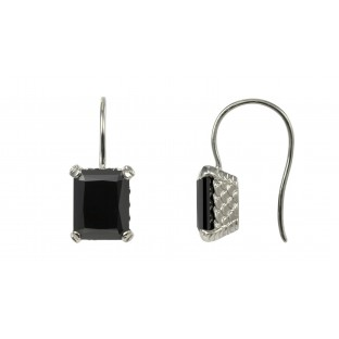 caï Ohrhänger mit schwarzem Zirkonia gefasst in Silber C1420E/90/43
