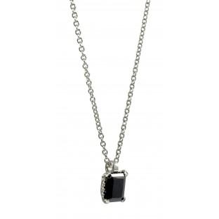 cai Halskette / Collier mit gefasstem schwarzem Zirkonia C1420N/90/43/45