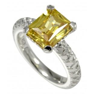 caï Damenring mit krappengefasstem Zirkonia Baguette gelb - C1420R/90/69