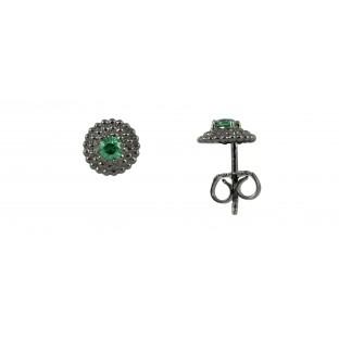 caï Ohrstecker strukturiertes Plättchen geschwärzt mit Zirkonia grün in Silber C1434E/90/72