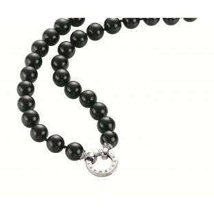 Giorgio Martello schwarzes Muschelkern-Perlen-Collier 80 cm / Perlenkette mit Schriftzug 816889800