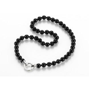 Giorgio Martello facettiertes Onyxkugeln-Collier / Perlenkette mit Schriftzug 818049500