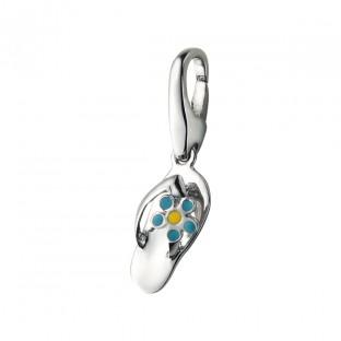 Giorgio Martello Flipflop mit hellblau gelber Blume Charm 818719