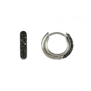 Merii Creole / Ohrring mit schwarzem Zirkoniabesatz frontseitig M0366E/90/43