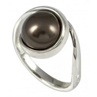 Merii braune Swarovski-Perle in umschlungener Fassung - Damenring - M0518R/90/J9