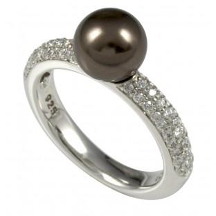 Merii braune Swarovski-Perle mit Zirkonia - Damenring - M0590R/90/D0