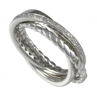Merii 3 verschlungene Ringe Zirkoniabesatz/poliert/gekordelt - Damenring - M0620R/90/03