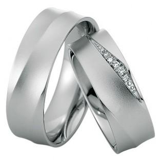 Weißgold Trauringe Damenring mit 5 Diamanten von Saint Maurice 49/81616/0