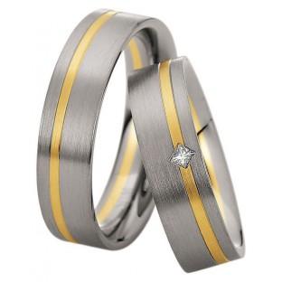 Trauringe in Gelb- und Weissgold Damenring mit Prinzess-Diamant von Saint Maurice 49/81620/0