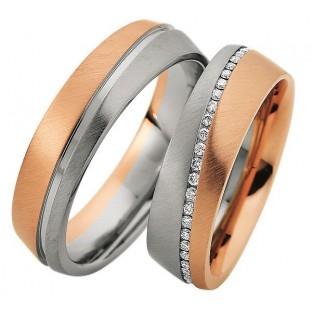 Weiss- und Rotgoldringe Damenring rundherum mit ca. 50 Diamanten 49/81630/0
