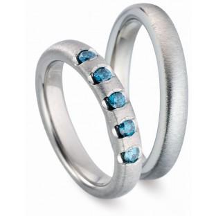 Titanfactory Trauringe blaue Steine