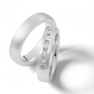 Weissgoldringe mit 12 Baquette-Diamanten von Weidner 04980