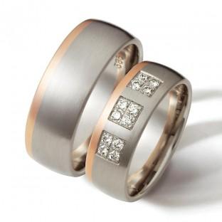 Grau- und Rotgoldringe mit 12 Diamanten von Weidner 04541