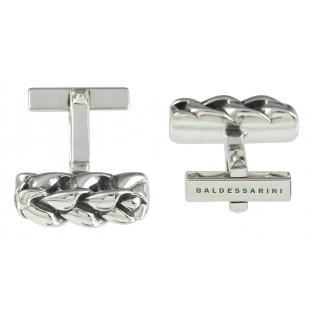 Baldessarini Manschettenknöpfe Y1062C/90/00 Silber 925 geschwärzt, rhodiniert mit strukturierter Oberfläche