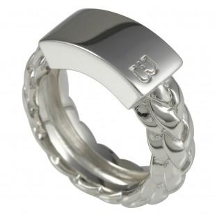 Baldessarini Herrenring Silberstruktur mit Auflage Y1067R/90/00