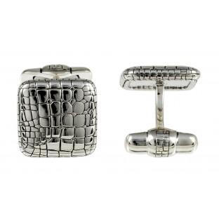 Baldessarini Manschettenknöpfe Y2009C/90/00 Silber 925 geschwärzt und rhodiniert, strukturierte Oberfläche