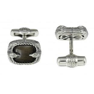 Baldessarini Manschettenknöpfe Y2045C/90/E3 geschwärztes Silber 925 mit schwarzen Obsidian