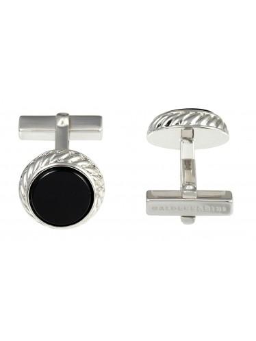 Baldessarini Manschettenknöpfe Y1043C/90/13 Silber 925 rhodiniert, strukturiert, schwarzer runder Onyxeinsatz