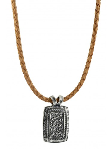 Baldessarini Herren-Lederband braun mit strukturierter Silberplatte Y1093N/90/00/50
