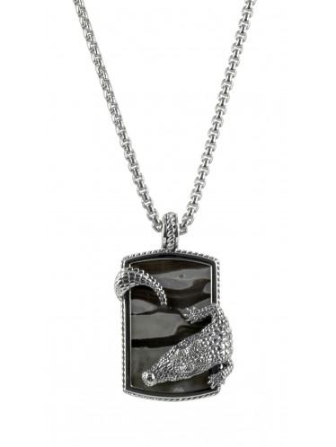 Baldessarini Herren-Halskette Silber mit Calcit Krokodil Y2033N/90/H7/55
