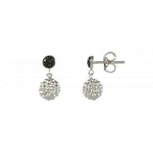 caï Ohrringe mit Silberkugel-Behang und schwarzem Zirkonia gefasst C1253E/90/43