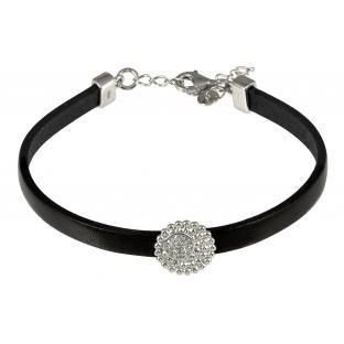 caï Armband zartes Damen-Lederarmband Silber mit Zirkonia C1321B/90/03/17+3