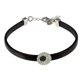 caï Armband zartes Damen-Lederarmband Silber mit Zirkonia schwarz C1321B/90/43/17+3