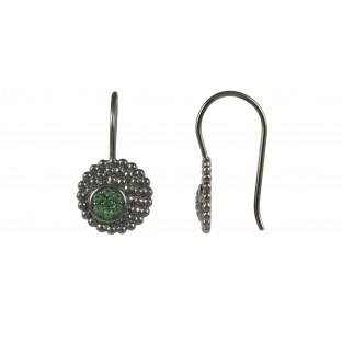 caï Ohrhänger rund geschwärzt mit Zirkonia grün alpinite C1321E/90/E0