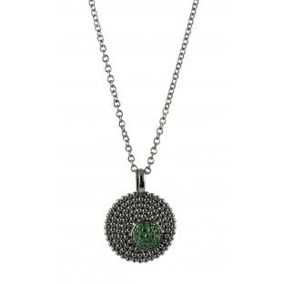 cai Halskette / Collier geschwärzte runde Silberplatte mit grünem Zirkoniabesatz C1321N/90/E0/45