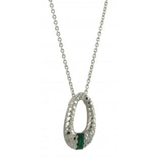 cai Halskette - grüner Zirkonia - Collier durchbrochenes Oval mit Silberschuppen C1419N/90/J0/45