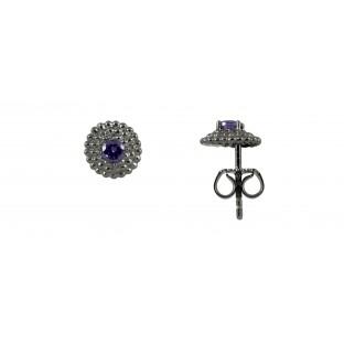 caï Ohrstecker strukturiertes Plättchen geschwärzt mit Zirkonia purple in Silber C1434E/90/C6
