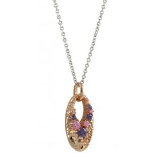 cai Halskette / Collier durchbrochenes Oval mit rotvergoldeten Goldschuppen und Zirkonia pink/flieder C1452N/90/G0/45