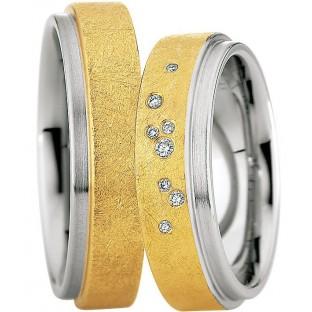 Edelstahl und Gold Trauringe von Saint Maurice 49/88218/0