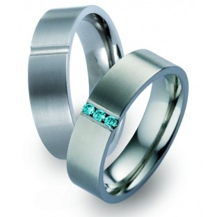Trauringe mit blauem Diamant