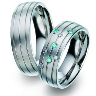 blaue Diamanten - Trauringe  - Titan